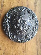 "Vintage Gorham E/P 3"" Ornate Repousse Flowers Purse Pocket Mirror"