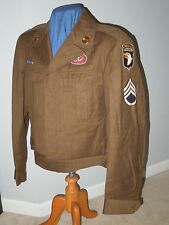 WWII US Army 101st Airborne Division Ike Uniform Jacket Wings 501st PIR Paracord