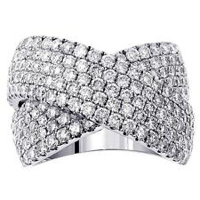2.65 CT Diamond Crossover Anniversary Ring in Platinum Pave Setting NEW