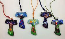Tau in legno decorato con immagine cantico delle creature San Francesco 10pz