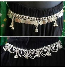 Gypsy 2 lot Metal silver coin chain body costume club waist Belt India jewelry