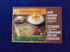 PREMIUM PLUS GREAT CANADIAN CRACKER RECIPES BOOKLET VINTAGE 1985 COUPONS