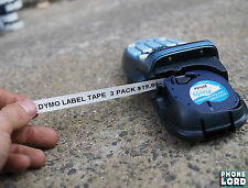 Black on White Plastic label 12mm x 4m tape for Dymo LetraTag label maker 3 PACK