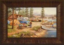 WEEKEND RETREAT by Ken Zylla Lodge Camping Lake Canoe 11x15 FRAMED PRINT PICTURE