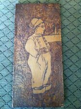 Vintage Dutch Boy Wood Hand Carving Wall Hanging Picture