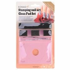 Konad Stamping Nail Art Clean Pad and Holder Kit Beauty Fashion