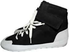 $570 ISABEL MARANT Black Suede Lace Up Bessy Ankle-Strap Sneakers Flat Shoes 40