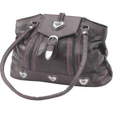 WOMENS EMBASSY LEATHER SILVER HEART PURSE HANDBAG SHOULDER BAG - LUPHRTLG