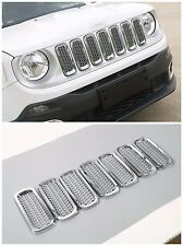 7* ABS Chrome Car Front Grille Inserts Mesh Accessories for Jeep Renegade 15-17