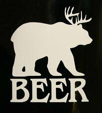 "BEER - White - 2"" Decal Sticker for Window Helmet Hardhat"