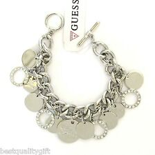 NEW GUESS SILVER TONE CHAIN+MULTI CIRCLE CRYSTAL CHARMS TOGGLE BRACELET