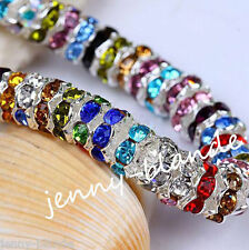 50pcs Mixed Silver Plated Czech Crystal Spacer Rondelle Beads Charm Findings 8mm