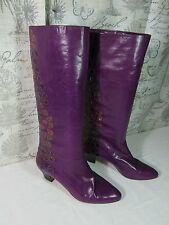 Andrea Pfister Womens Boots  Purple Floral Leather  Sz 10 made in Italy
