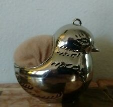Vintage Silver Bird Pin Cushion with Bail