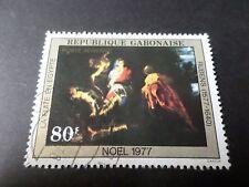 GABON 1977, timbre aérien 203, NOEL, TABLEAU RUBENS, oblitéré PAINTING STAMP