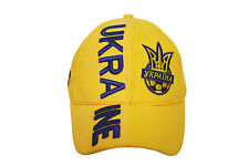 UKRAINE YELLOW TRIDENT ON BRIM EMBOSSED HAT CAP .. FOR KIDS : 5-12 YRS .. NEW