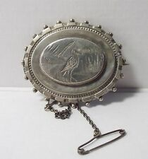 AESTHETIC MOVEMENT WHITE METAL BROOCH VICTORIAN SILVER TONE ANTIQUE JEWELLERY
