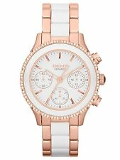 NEW DKNY NY8825 LADIES ROSE GOLD AND WHITE CERAMIC WATCH - 2 YEAR WARRANTY