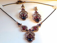 Sapphir Ruby Necklace earrings set,AntiqueVintage Choker,Bollywood Jewellery set