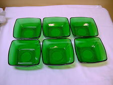 6 VTG RARE Anchor Hocking Charm Forest Green Glass Soup Cereal Bowls Excellent