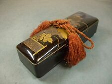 Japanese Antique Makie Letter box / Gold lacquer / Chrysanthemum