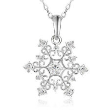 Fashion Women Chic Silver Plated Cubic Zirconia Nice Snowflake Necklace Pendant