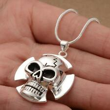 Cool Unisex   LF  925 Silver Plated Charms Skull Pendant Necklace