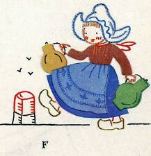 Vintage Embroidery Applique Transfer repo 779 Dutch Children for Tea Towels 40s