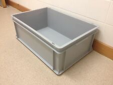 Euro Storage Box Plastic Stacking L60cm x W40cm x H22cm Container Stackable Grey