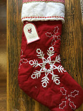 Pottery Barn Kids Classic Quilted Christmas Stocking Snowflakes NEW 5 Available