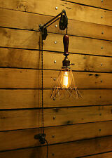 Industrial Trouble Light Pulley Sconce Wall Mount with Cage Light Pendant  Lamp
