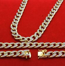 """14k Gold Finish Iced Out Simulated Cz Mens Miami Cuban Chain & Bracelet 36"""""""