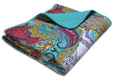 Reversible Paisley Turquoise Teal Cotton Quilted Throw Sofa Blanket Cover-up
