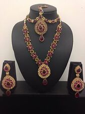 PINK GOLD INDIAN COSTUME JEWELLERY NECKLACE EARRINGS WEDDING PARTY SET NEW