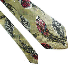 "Lands' End Pheasant Classic Silk Tie Brown Green Red 3.5"" x 57"" Game Bird"