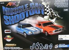 AFX Muscle Car Shootout Mustang/Camaro Slot Car Race Set w/ Lap Counter AFX21040