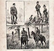 Stampa antica SOLDATI esercito Austria - Ungheria militari 1896 Old Print