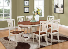 7PC OVAL DINETTE KITCHEN DINING TABLE w/ 6 WOOD SEAT CHAIRS, BUTTERMILK & CHERRY