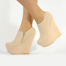 HIGH FASHION PLATFORM WEDGE ANKLE SUEDE BOOTS SHOES NEW SIZE 3 4 5 6 7 8 TINA X1