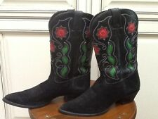 Tony Lama Cowgirl Boots Sz 9 B Black Red Green Floral Cut Out Design Western
