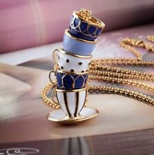 Tea Time Stacked Pendant Necklace Bright Blue & Red Enameled Shiny Gold Plated