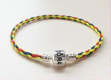 1PCS Red/Blue/Yellow Leather Bracelets Bangle Fit 925 European Charms/Beads