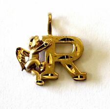10k yellow gold Cupid R initial letter charm pendant 1g initial estate vintage