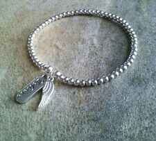 Simple Silver Ball Beaded Angel Wing Believe Charm Surfer Stretch Bracelet