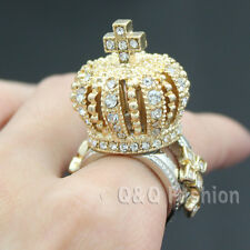 3D Gold King Queen Crown Tiara Cross Crystal Cocktail Chunky Finger Ring W7