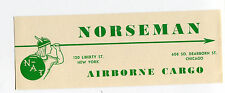 vintage Airline Luggage Label NORSEMAN AIRBORNE CARGO  NY Chicago  #DJ
