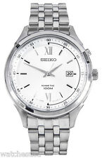 Seiko Mens Silver Dial Stainless Steel Bracelet Kinetic Watch SKA653
