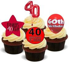 NOVELTY 40TH BIRTHDAY RED MIX 12 STAND UP Edible Cake Toppers 40 Fortieth Forty