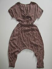 NWT Free People Dune in Mocha Washed Crepe Tie Front Harem Crop Jumpsuit M $148
