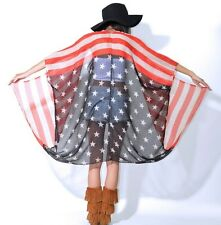 AMERICAN Flag Semi Sheer USA Draped Gauze Hippie Boho Festival Cape Coat Jacket